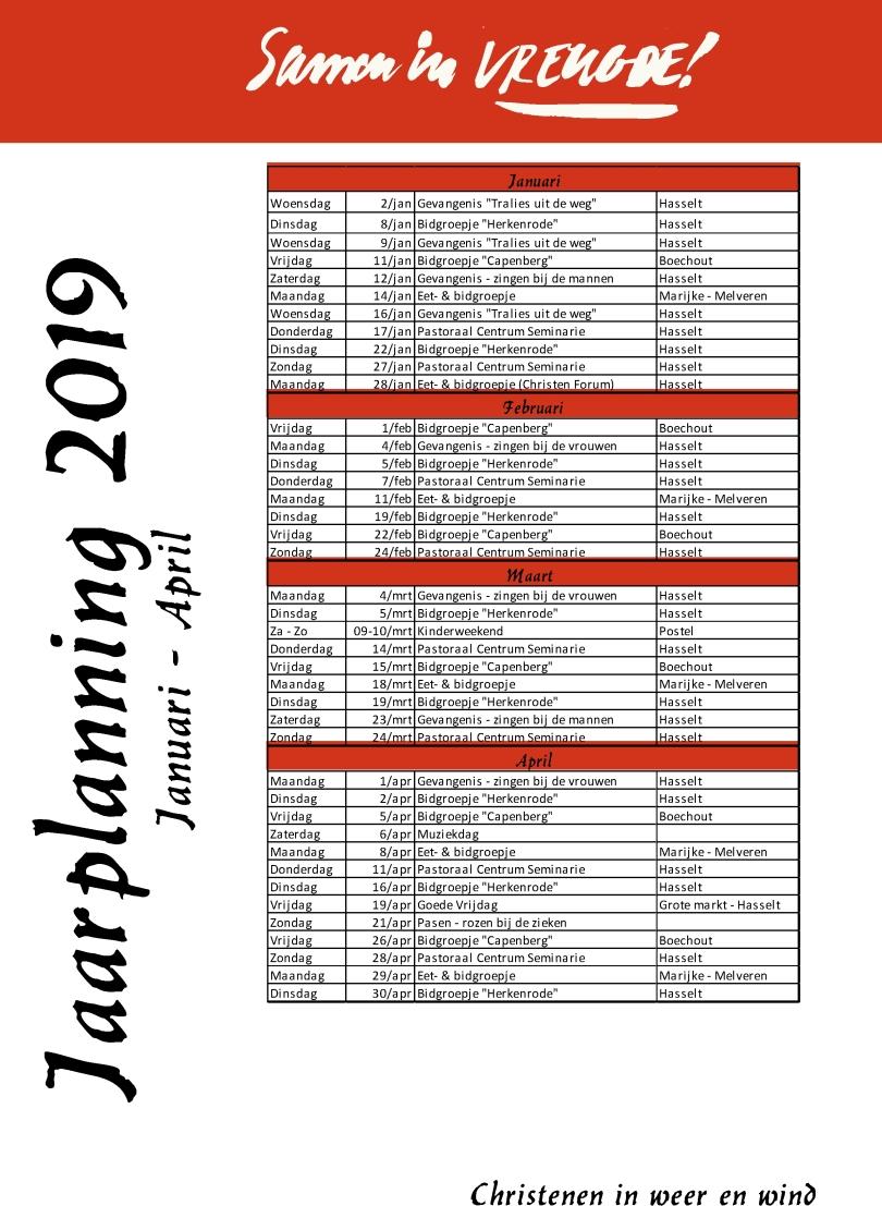 Jaarplanning 2019 - januari-april