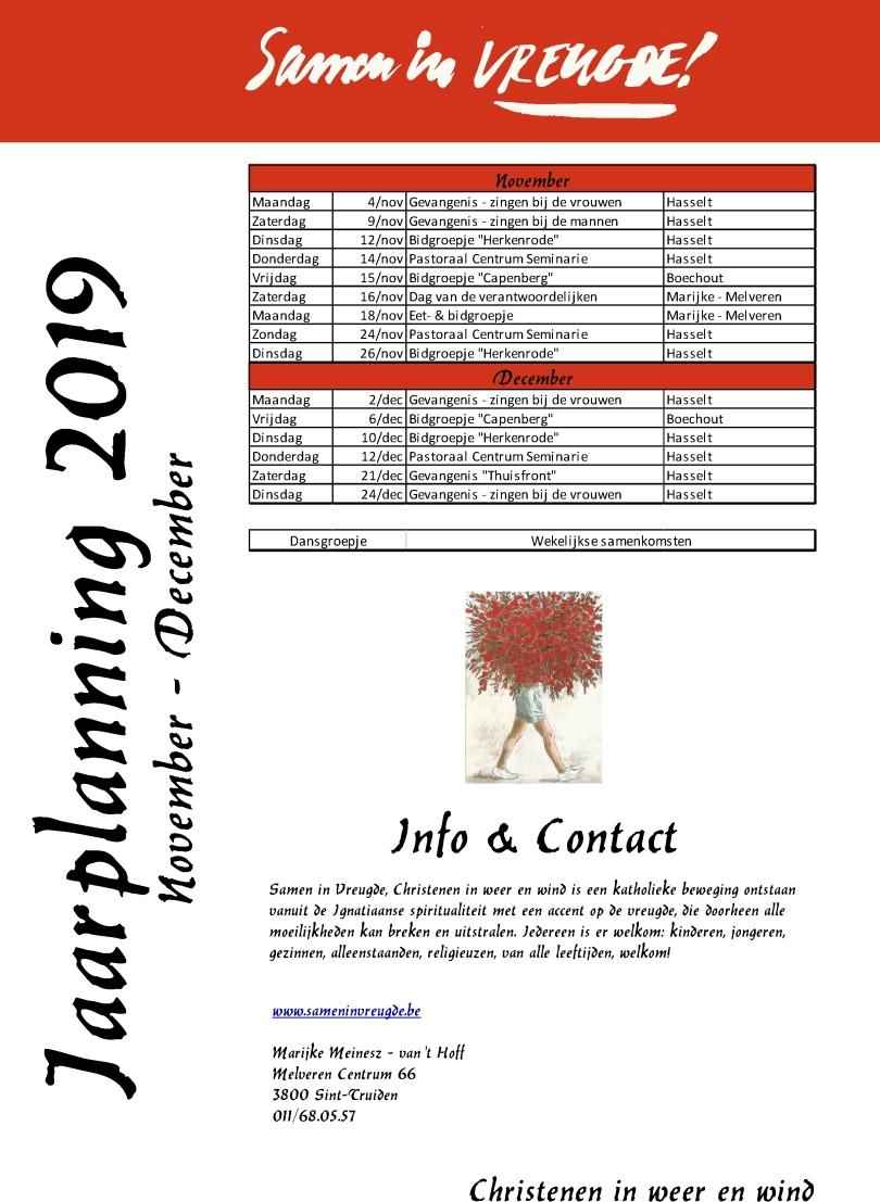 Jaarplanning 2019 - november-december
