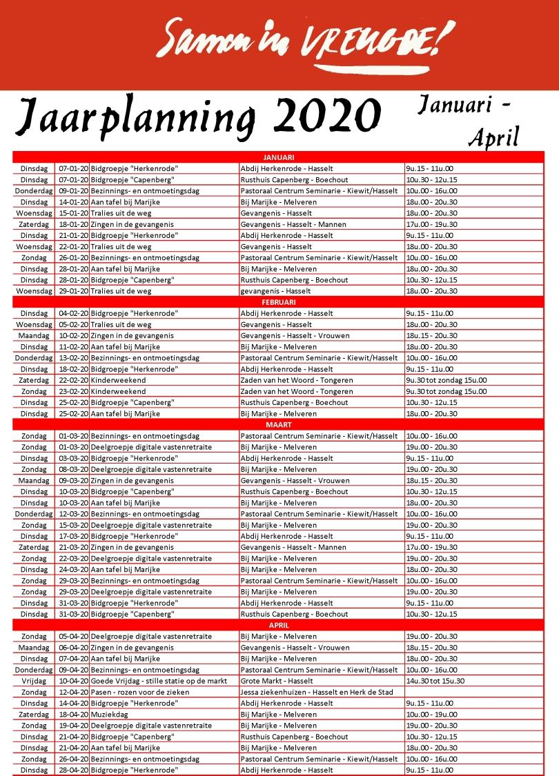 Jaarplanning 2019-2020-2